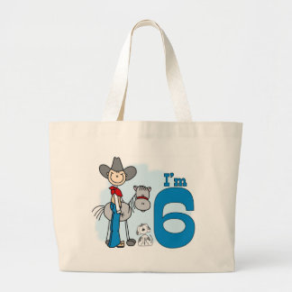 Cumpleaños del vaquero del palillo 6to bolsa tela grande