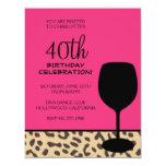 cumpleaños del vino del estampado leopardo invitación personalizada