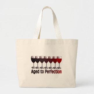 Cumpleaños del vino rojo bolsa tela grande