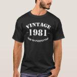 Cumpleaños del vintage 1981 envejecido a la playera