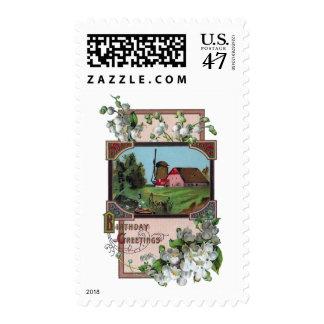 Cumpleaños del vintage de la granja y del lirio de timbre postal