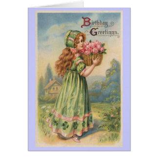 Cumpleaños del vintage de los rosas del chica del  tarjeta