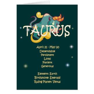 Cumpleaños del zodiaco del tauro tarjeta de felicitación
