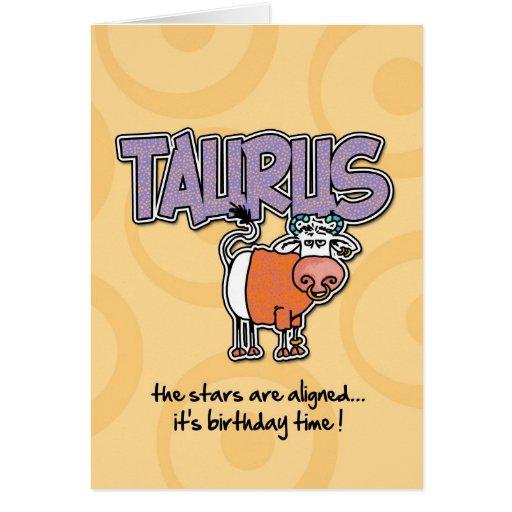 Cumpleaños del zodiaco - tauro tarjeta de felicitación