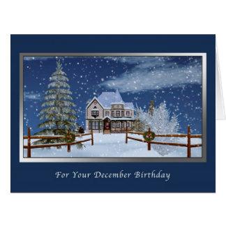 Cumpleaños diciembre escena del invierno Nevado Felicitacion