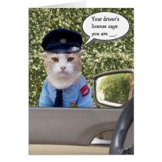 Cumpleaños divertido adaptable del gato del oficia felicitacion