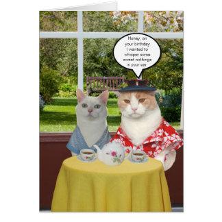 Cumpleaños divertido adaptable del gato para la tarjeta de felicitación