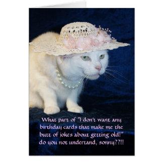 Cumpleaños divertido adaptable del gato para una tarjeta de felicitación