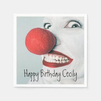 Cumpleaños divertido de la cara del payaso servilleta de papel