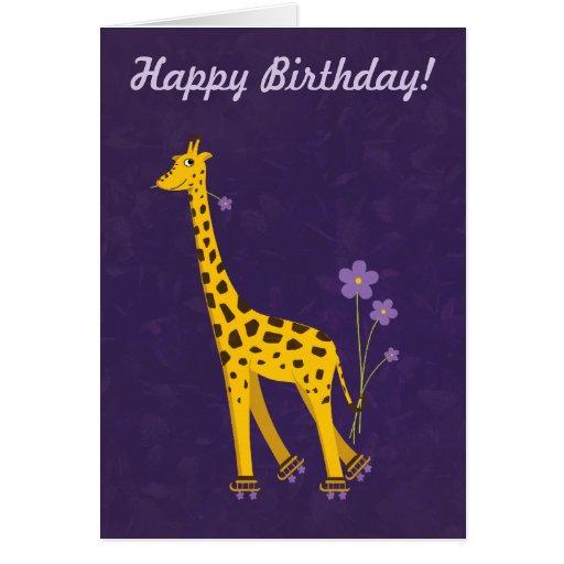Cumpleaños divertido de la jirafa del texto adapta tarjetón