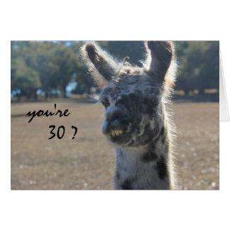 Cumpleaños divertido de la llama, trigésimo, sobre tarjeta de felicitación