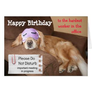 Cumpleaños divertido de la oficina del compañero d tarjeta de felicitación