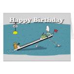 cumpleaños divertido de la tarjeta del rowing, gat