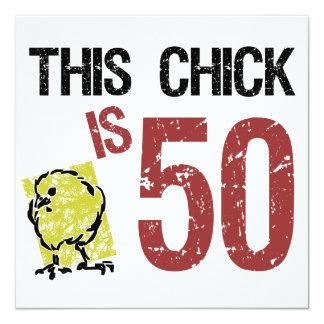 """Cumpleaños divertido de las mujeres el 50.o invitación 5.25"""" x 5.25"""""""