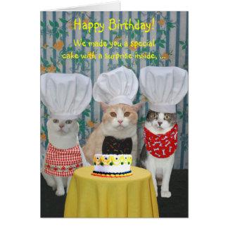 Cumpleaños divertido de los gatos del cocinero tarjeta de felicitación