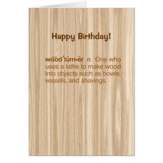 Cumpleaños divertido de Woodturning de la definici Tarjeta De Felicitación