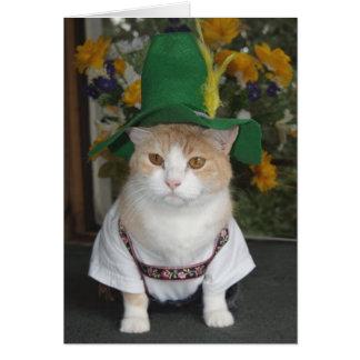 Cumpleaños divertido del alemán del gato tarjeta de felicitación