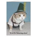 Cumpleaños divertido del alemán del gato tarjetón