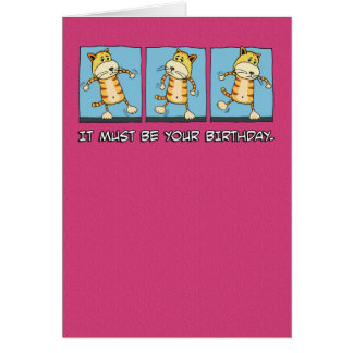 Cumpleaños divertido del baile del gato tarjeta de felicitación