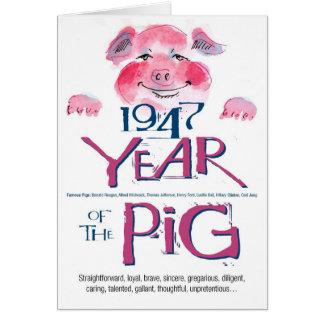 Cumpleaños divertido del cerdo de 1947 datos diver tarjeta de felicitación