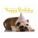 Cumpleaños divertido del dogo tarjeta postal