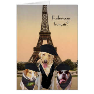Cumpleaños divertido del francés de los perros tarjeta de felicitación