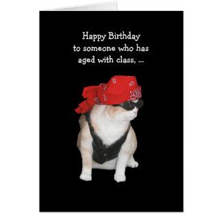 Cumpleaños divertido del gato del motorista tarjeta