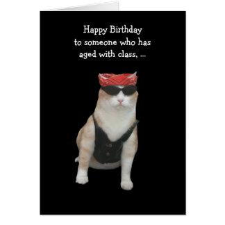 Cumpleaños divertido del gato del motorista felicitacion