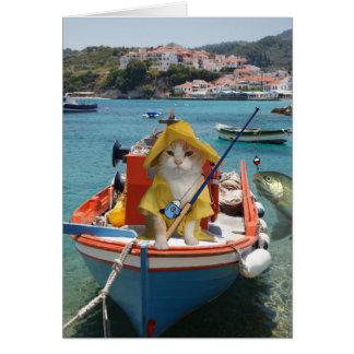 Cumpleaños divertido del gato para el pescador tarjeta de felicitación