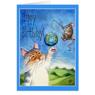 Cumpleaños divertido del gato y del ratón tarjeta de felicitación