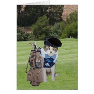 Cumpleaños divertido del golfista del gato tarjeta de felicitación