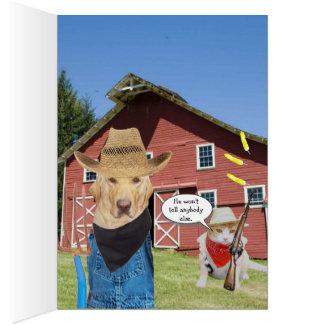 Cumpleaños divertido del granjero del laboratorio tarjeta de felicitación