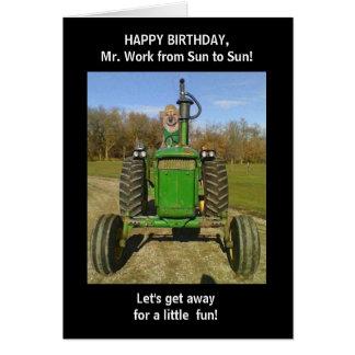 Cumpleaños divertido del marido/del granjero tarjeton