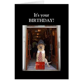 Cumpleaños divertido del perro/del varón del tarjeta de felicitación