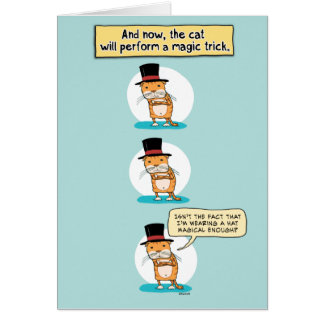 Cumpleaños divertido del truco mágico del gato tarjeta de felicitación