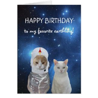 Cumpleaños divertido del UFO de los gatos Felicitación