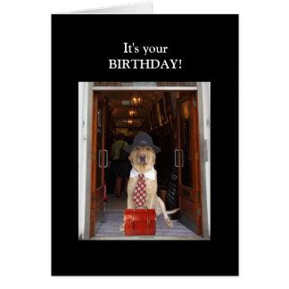 Cumpleaños divertido del varón del laboratorio felicitación