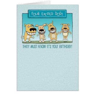 Cumpleaños divertido: Perros emocionados Tarjeta De Felicitación