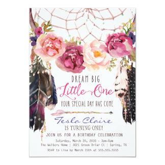 """Cumpleaños Dreamcatcher de la acuarela floral de Invitación 5"""" X 7"""""""
