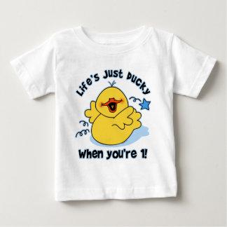 Cumpleaños Ducky de la vida el 1r Playera De Bebé
