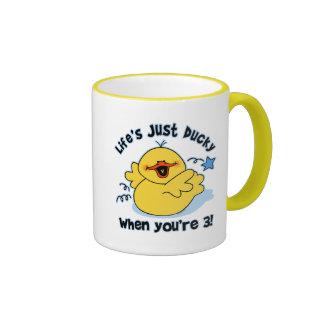 Cumpleaños Ducky de la vida el 3ro Tazas De Café