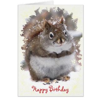 Cumpleaños dulce de la ardilla tarjeton