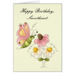 Cumpleaños dulce de la hija de la mariposa tarjetón