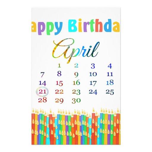 Cumpleaños el 21 de abril, velas coloridas del cum papeleria