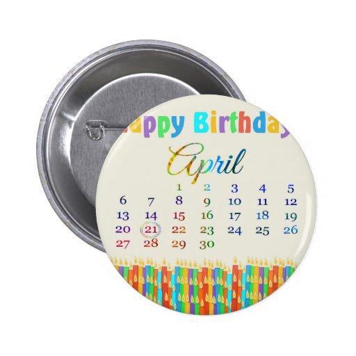 Cumpleaños el 21 de abril, velas coloridas del cum pins