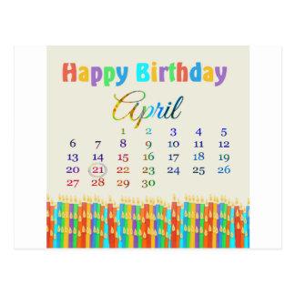 Cumpleaños el 21 de abril, velas coloridas del tarjetas postales