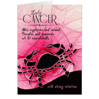 Cumpleaños el | del cáncer para su muestra de la tarjeta de felicitación