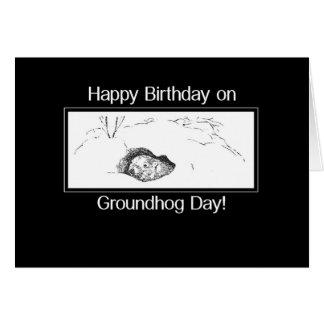 Cumpleaños el el día de la marmota blanco y negro tarjeta de felicitación