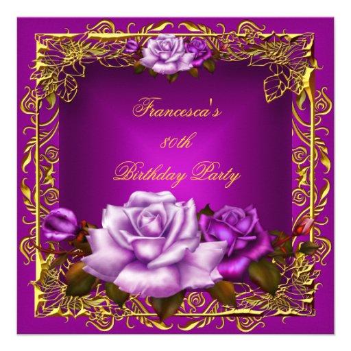 Cumpleaños elegante 5b del oro rosado púrpura de l comunicados personales
