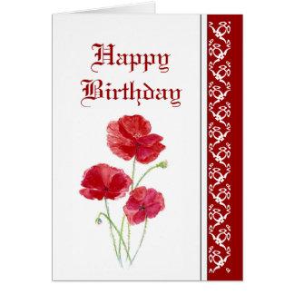 Cumpleaños elegante, amapolas rojas, flores del ja tarjetón